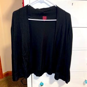 212 Black Cardigan, Cropped, Open Front